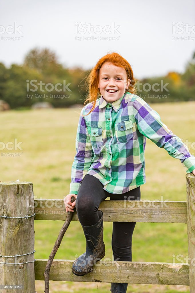 Red Headed Happy Smiling Farm Girl stock photo