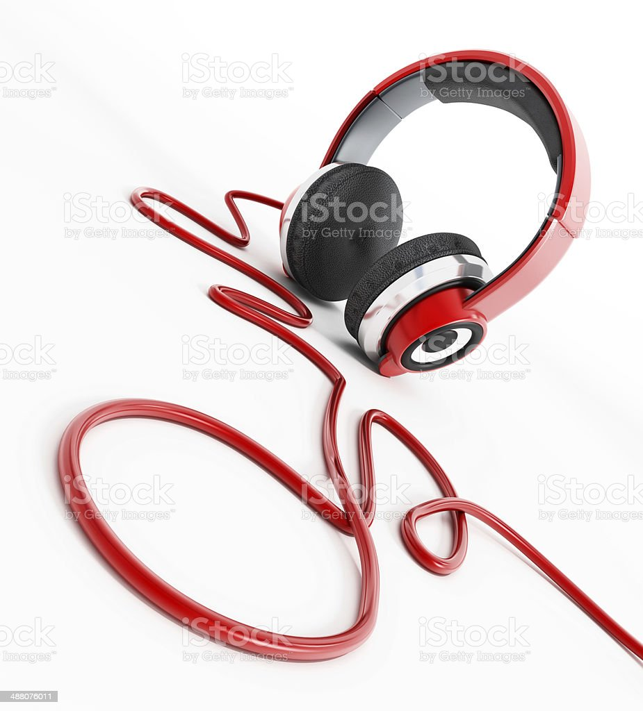 Red headphones with musical note shaped cord stock photo