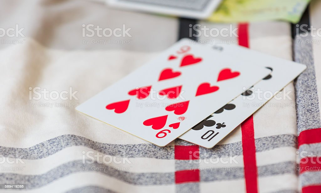 red heart and club card stock photo