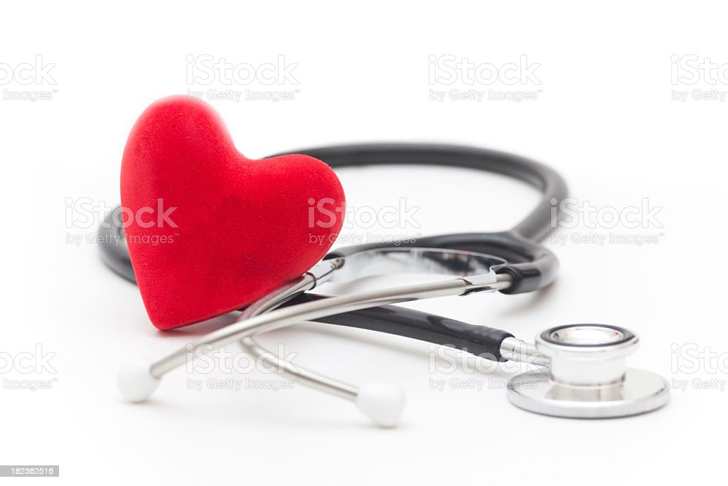 Red heart and stethoscope on a white background royalty-free stock photo