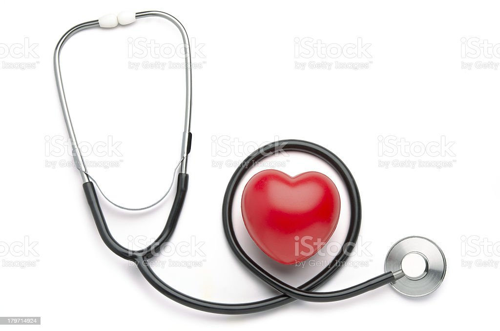 Red heart and stethoscope royalty-free stock photo