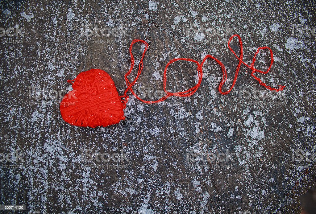Red heart and the word stock photo