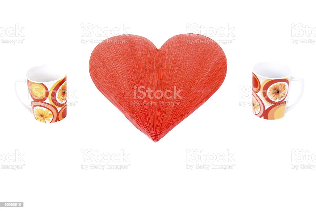 Red heart and two mugs royalty-free stock photo