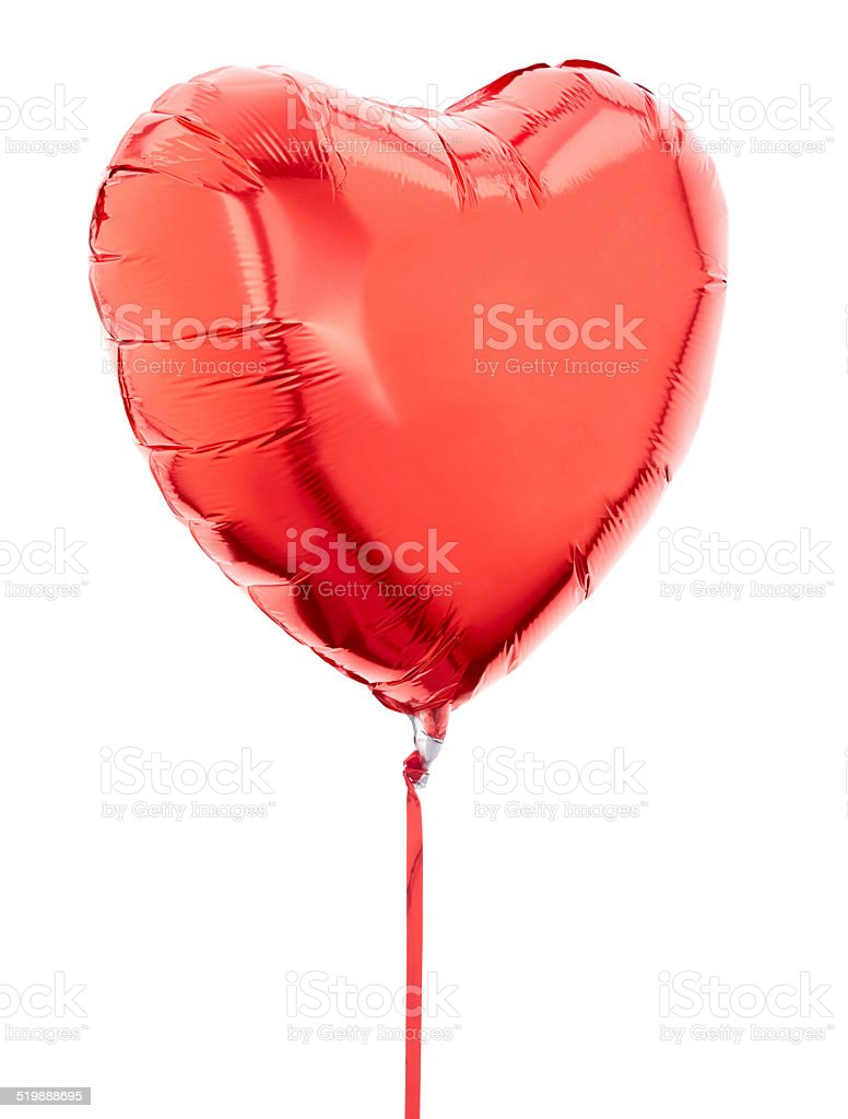 Red heart balloon on white stock photo