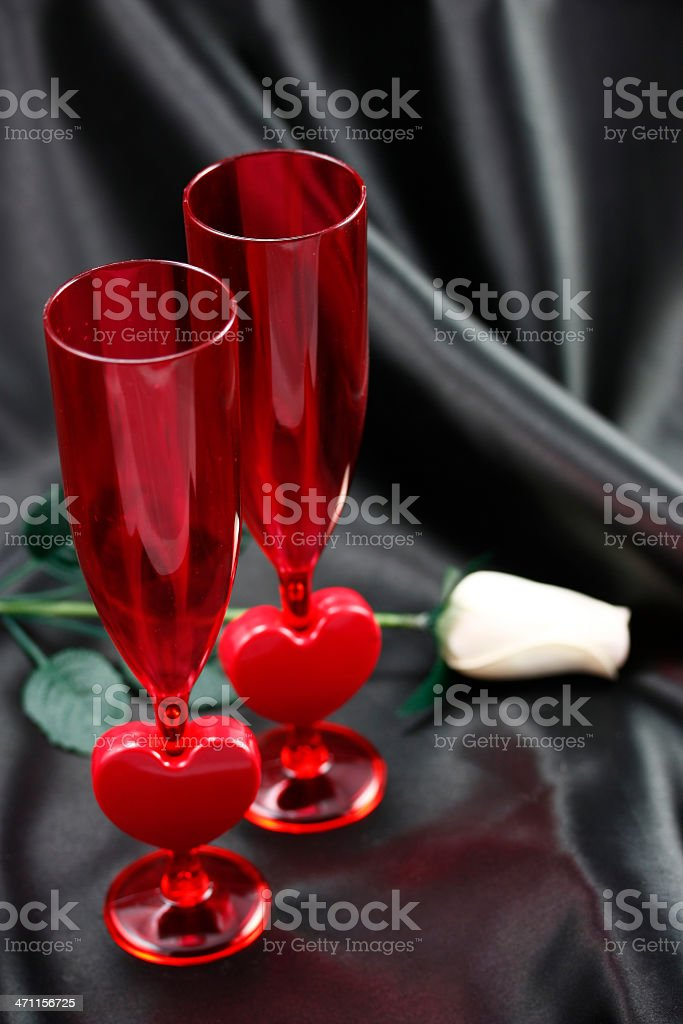 Red Heart Champagne flutes stock photo
