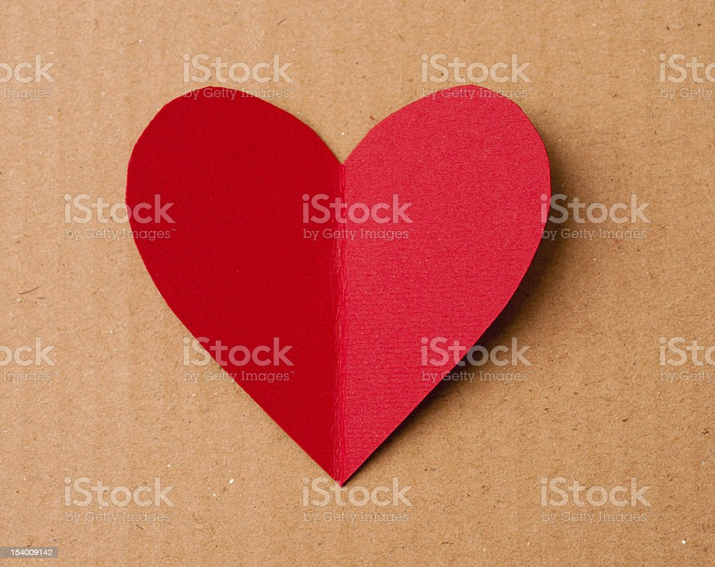 Red heart cutout card for valentine's day stock photo