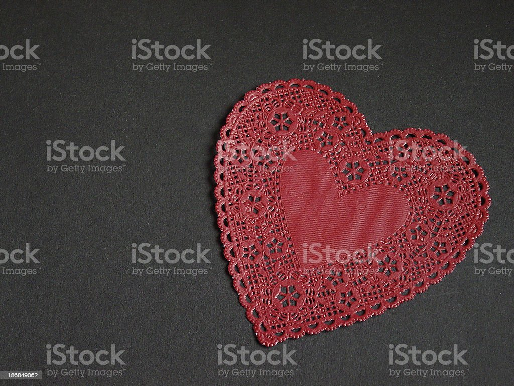 Red Heart Doily royalty-free stock photo