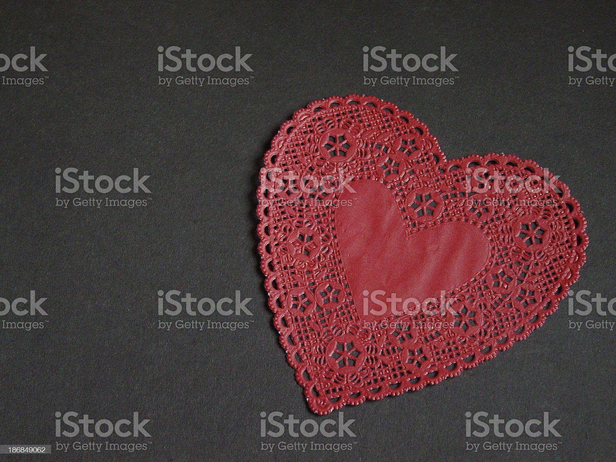 Red Heart Doily royalty-free stock photo
