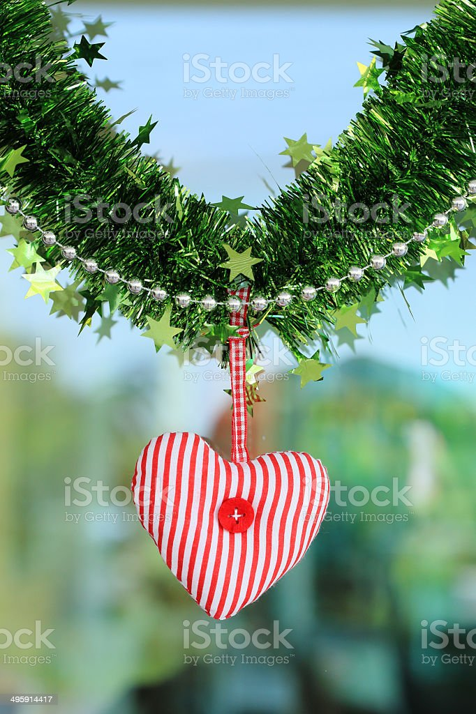 Red heart fabric hanging royalty-free stock photo
