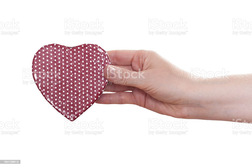 Red heart in a female hand royalty-free stock photo