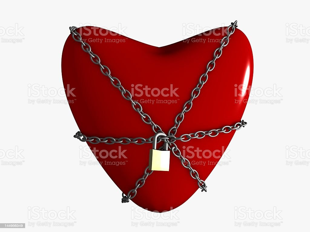 Red heart in chains stock photo