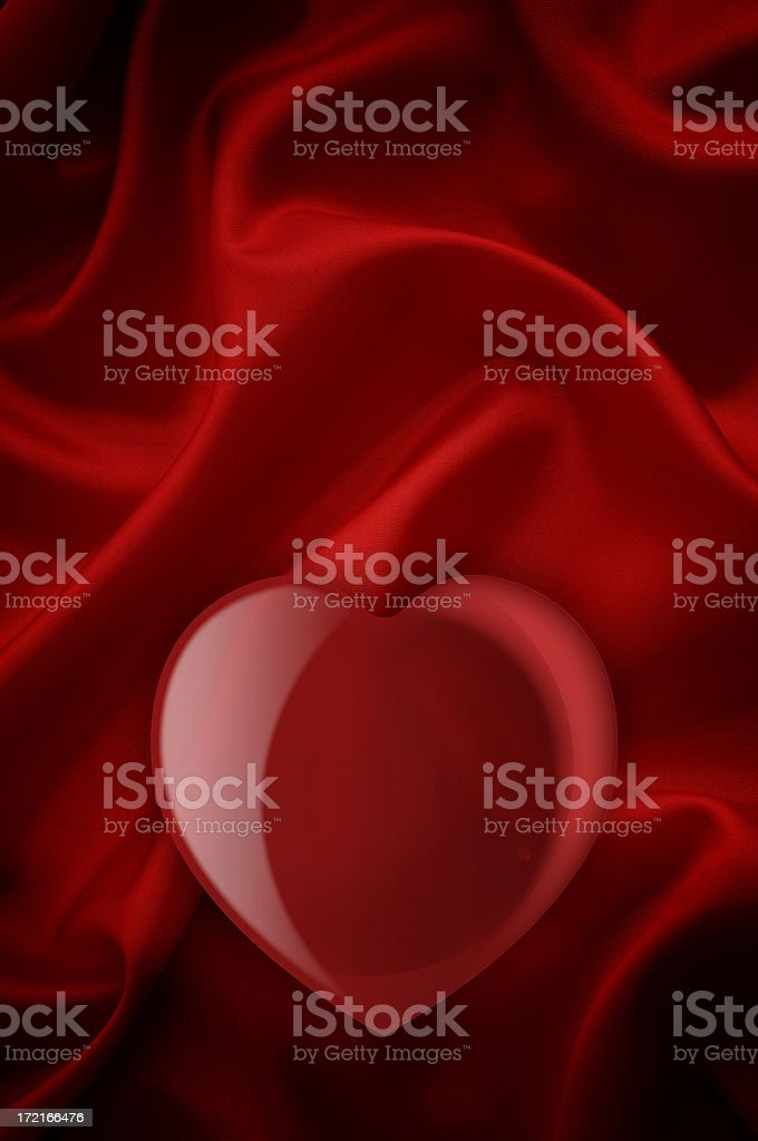 Red heart in satin background royalty-free stock photo
