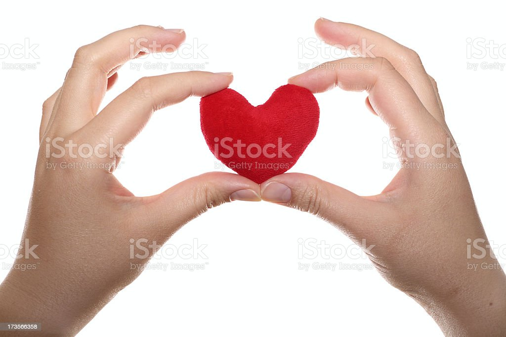 Red heart in the hands royalty-free stock photo