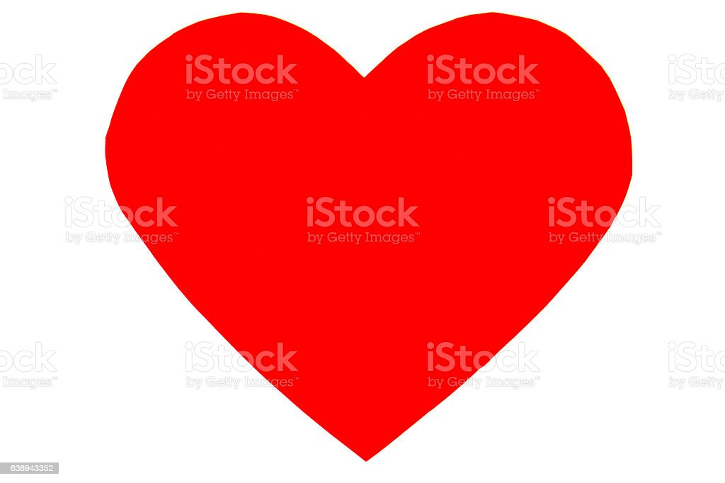 Red heart in trendy flat style isolated stock photo