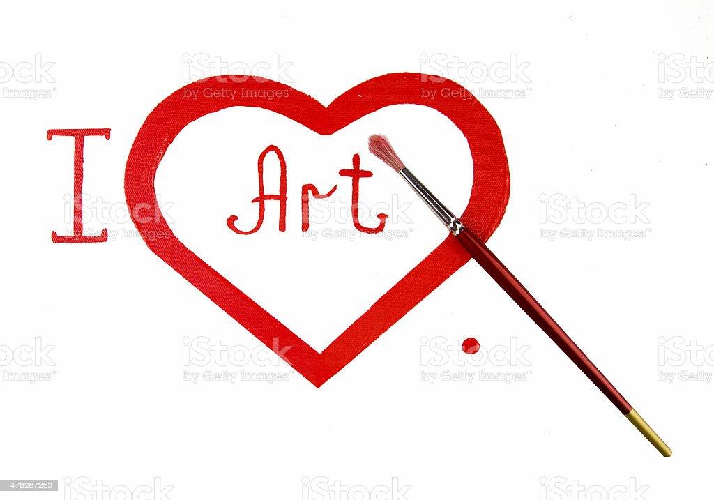 Red heart love. Art oil(acryl) pain royalty-free stock photo