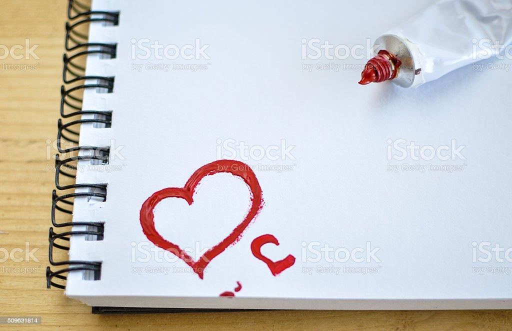 Red heart love. Art oil(acryl) paints stock photo