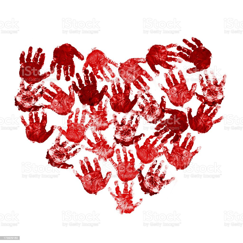 A red heart made of baby handprints royalty-free stock photo