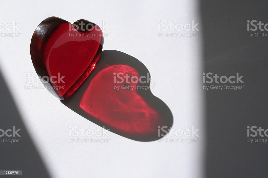 Red heart of glass, symbol for Valentine's day royalty-free stock photo