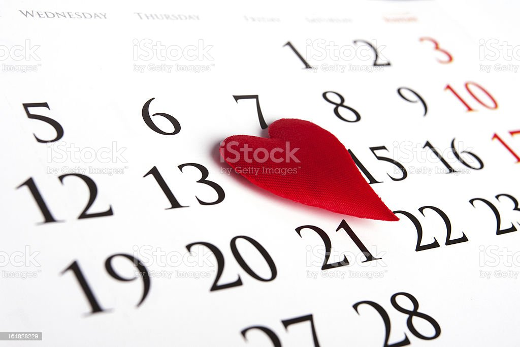 Red heart on calendar royalty-free stock photo