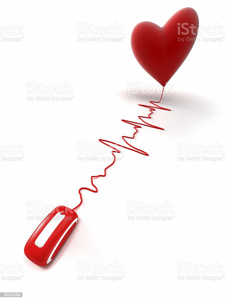 Red heart on line royalty-free stock photo