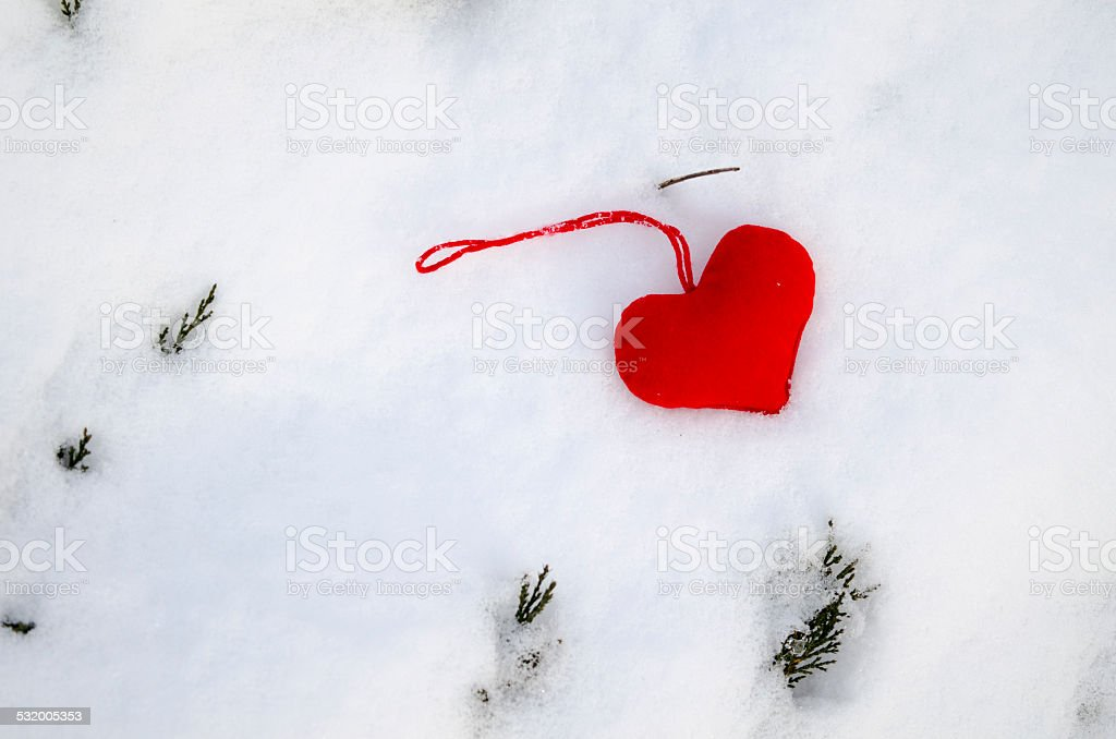 Red heart on snow with fir branches protruding royalty-free stock photo