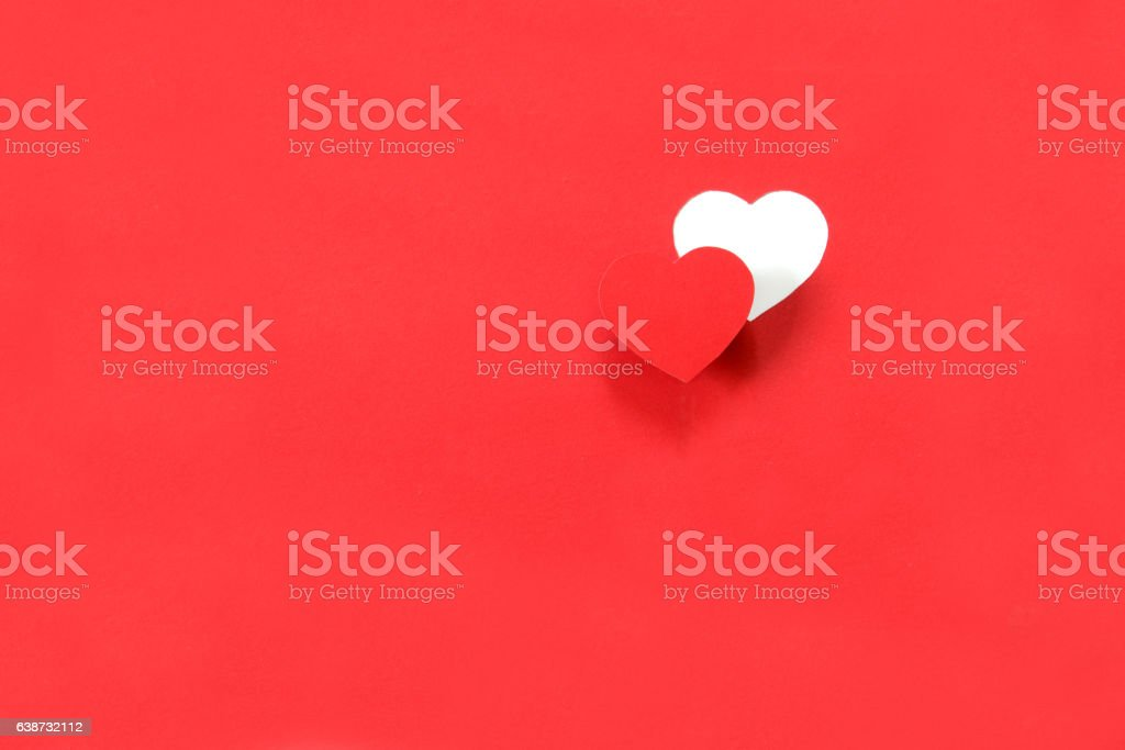 Red heart on the red background. stock photo