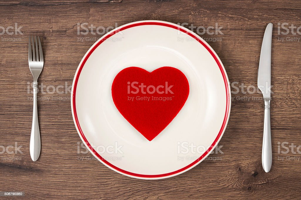 Red Heart on White Plate stock photo