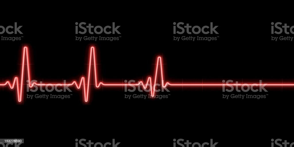 Red heart rate monitor line on black background stock photo