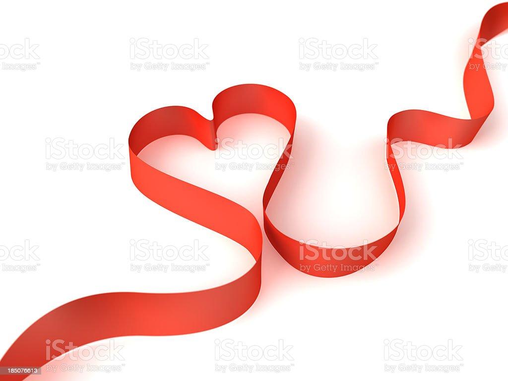 Red heart ribbon. stock photo