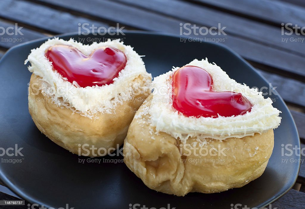 red heart  shape of  donut royalty-free stock photo