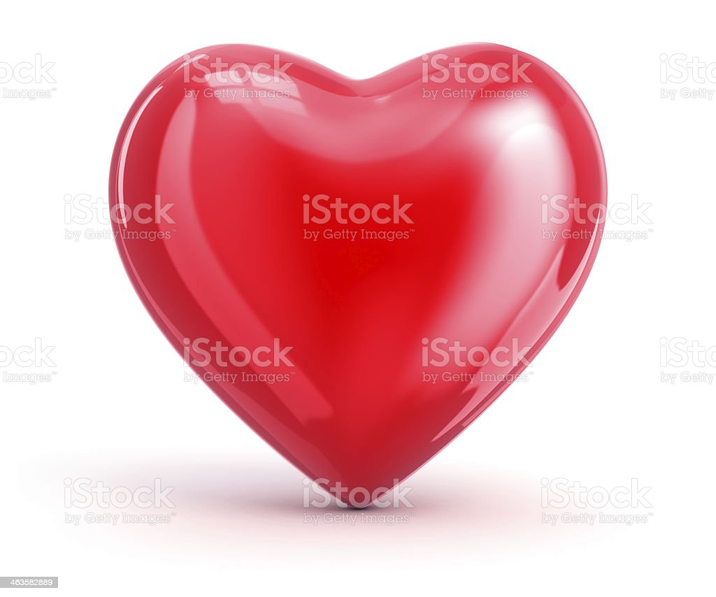 Red heart shape on white background stock photo
