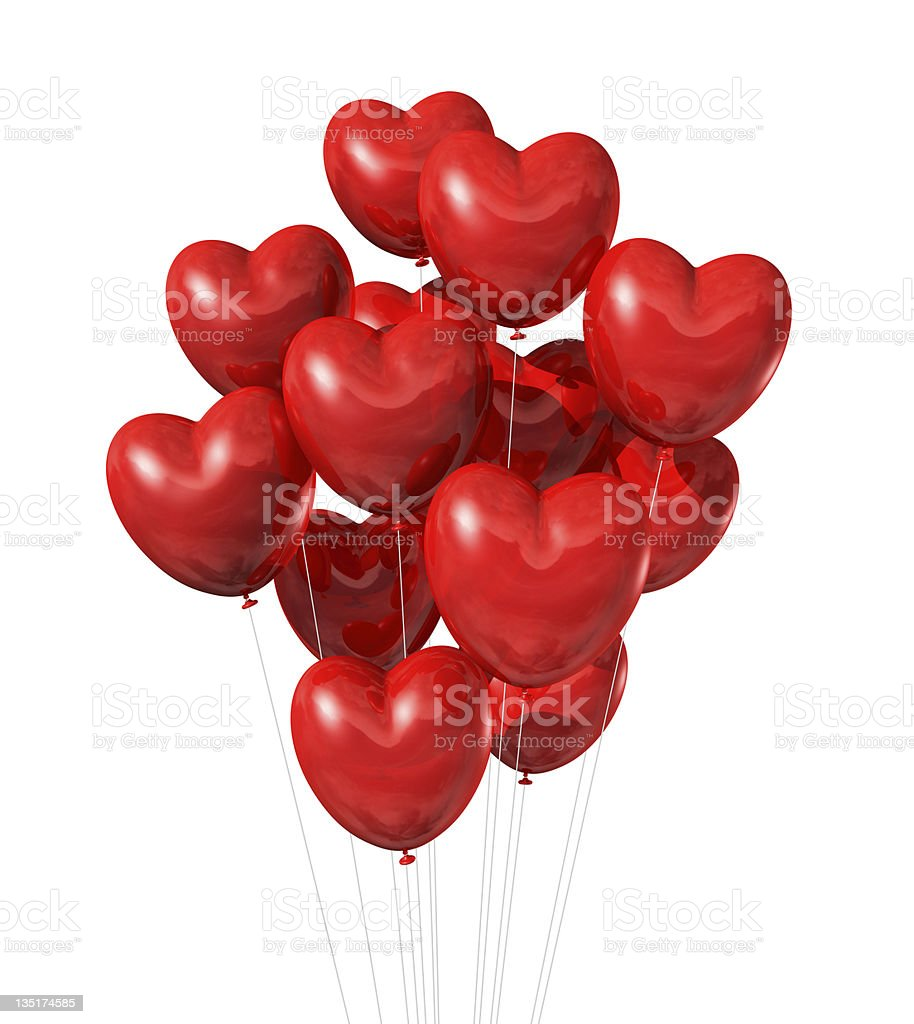 red heart shaped balloons isolated on white stock photo