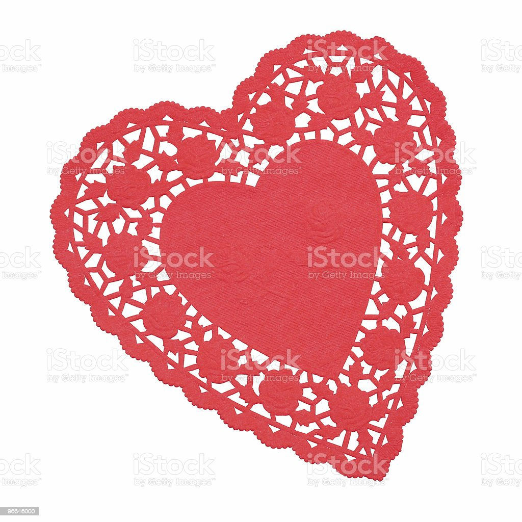 Red Heart Shaped Doilie Isolated stock photo