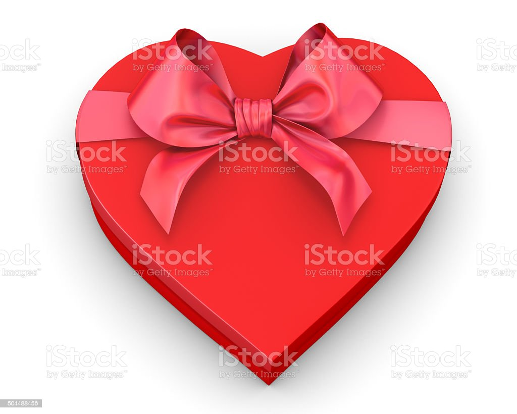 red heart shaped gift box vector art illustration