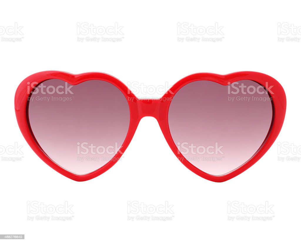 Red heart shaped Sunglasses (with 2 paths) stock photo
