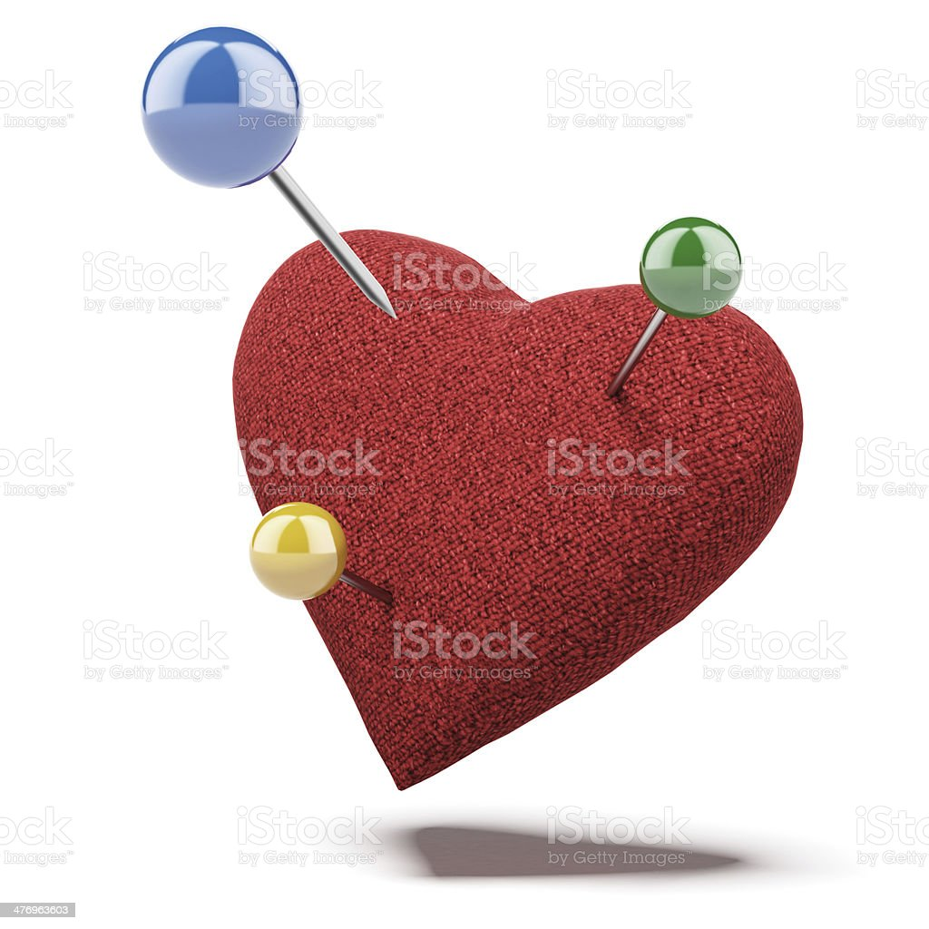 Red heart, studded with apins royalty-free stock photo