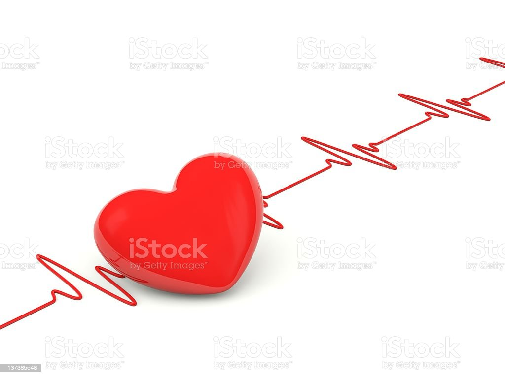 Red heart symbol within the heartbeat stock photo