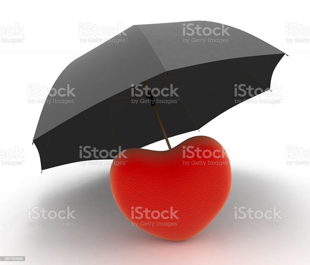 Red heart under umbrella stock photo