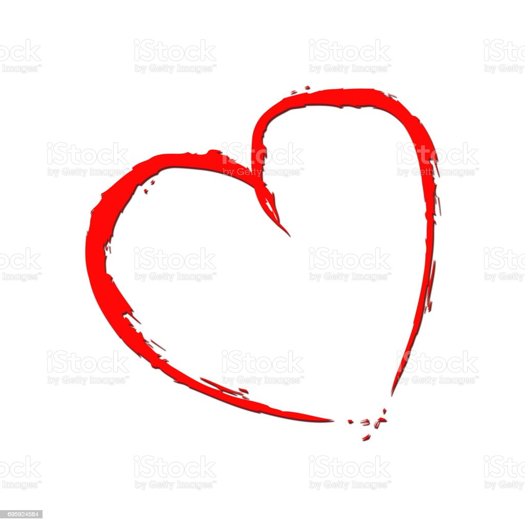 Red heart with fragmentary edges on white background stock photo