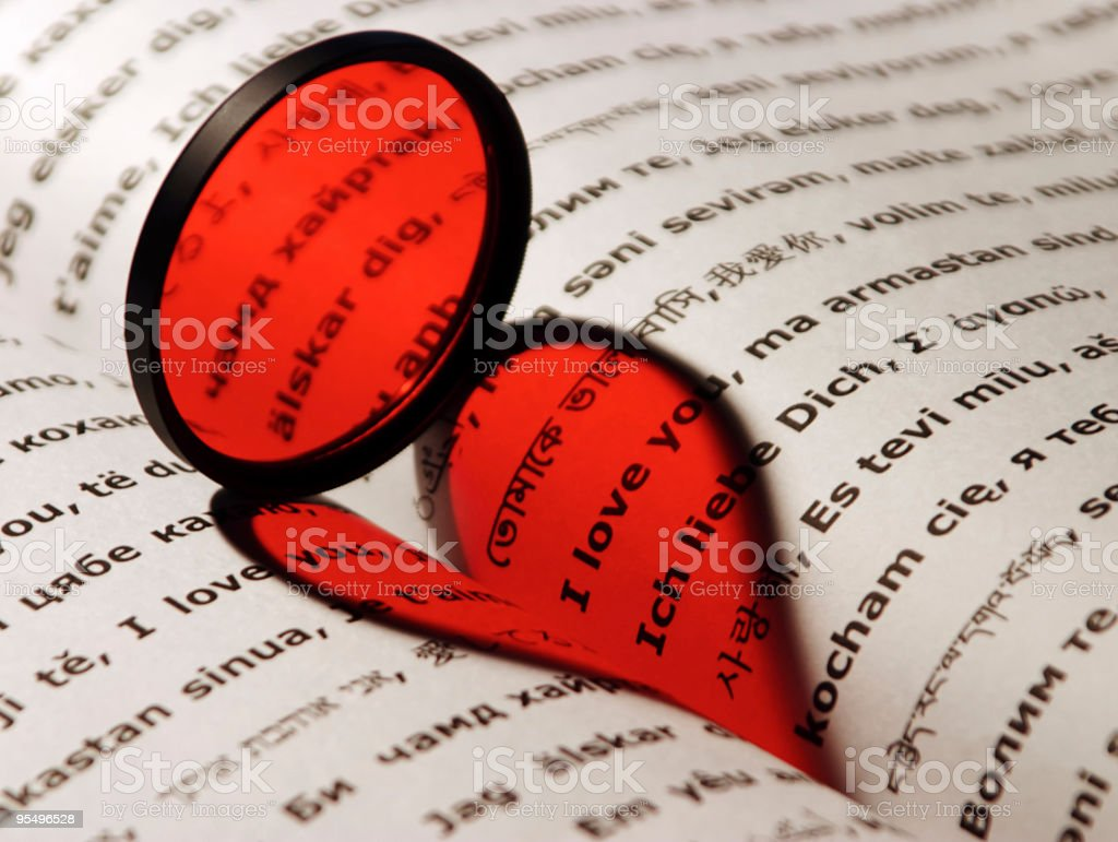 Red heart with 'I Love You' in different languages royalty-free stock photo