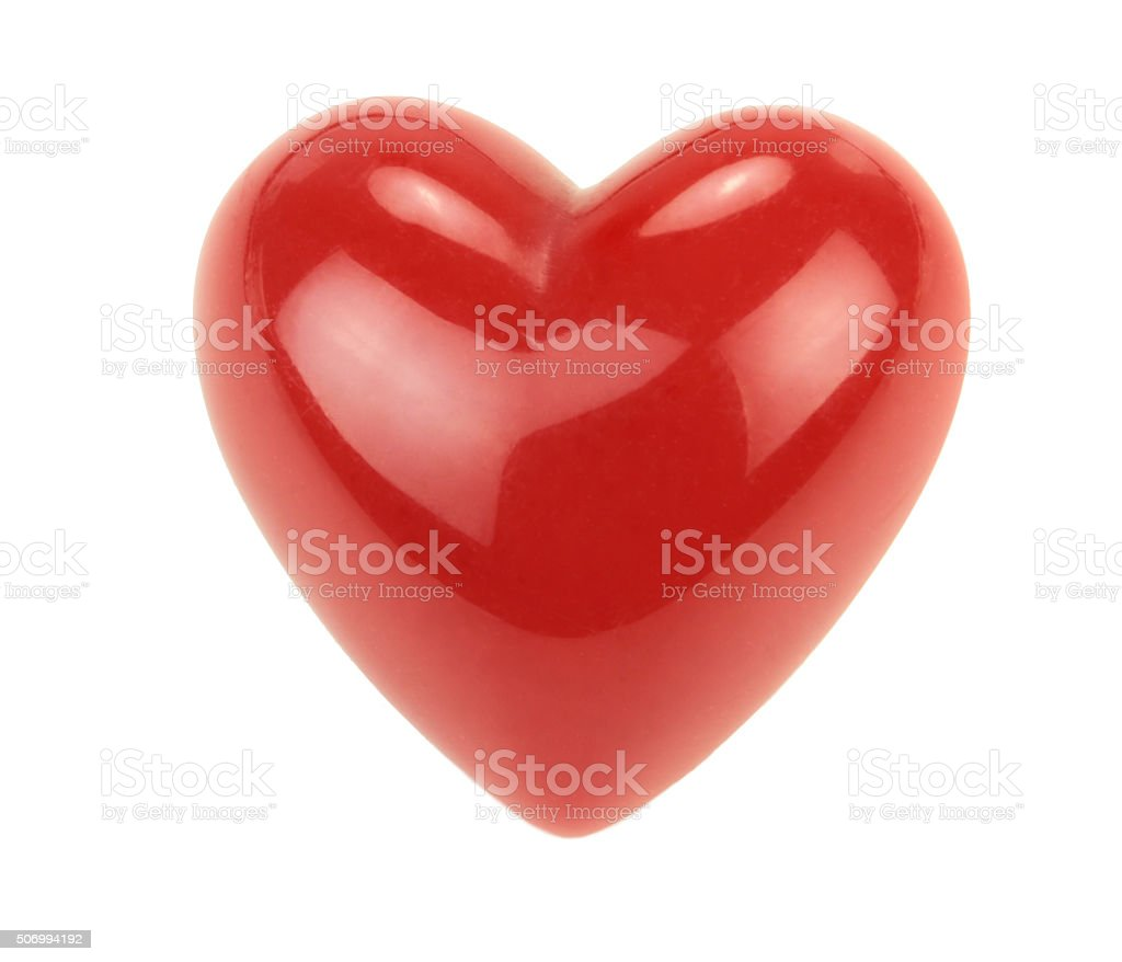 Red heart with reflections isolated on white background. stock photo