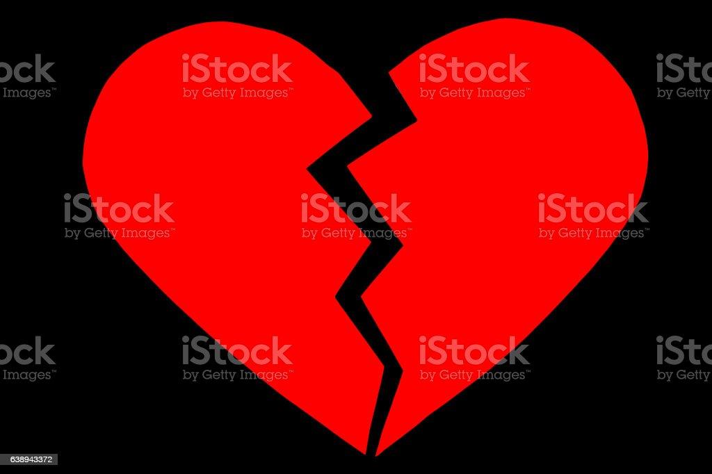 Red heartbreak / broken heart. close up of a paper stock photo