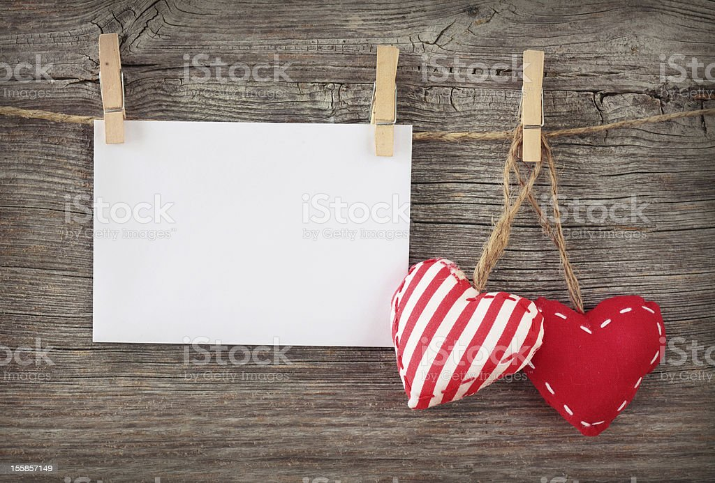Red hearts and blank note royalty-free stock photo