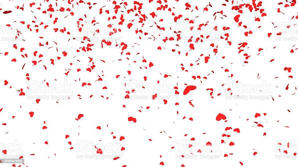 Red hearts confetti falling stock photo