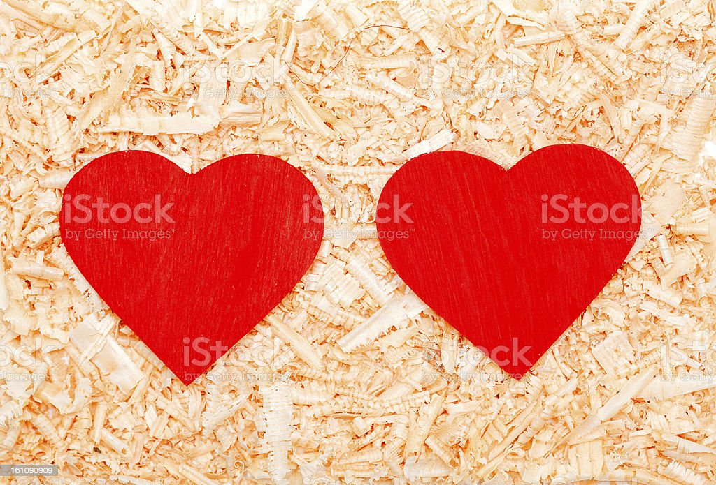 red hearts in the sawdust royalty-free stock photo