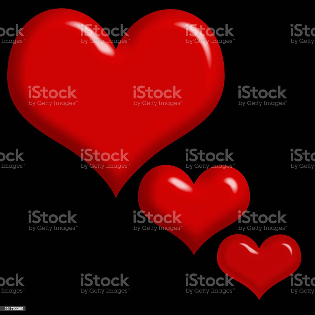 3 Red Hearts Isolated on Black Background stock photo