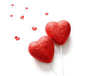 Red hearts isolated on white background ,copy space