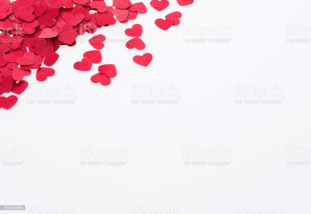 Red hearts isolated on white background stock photo