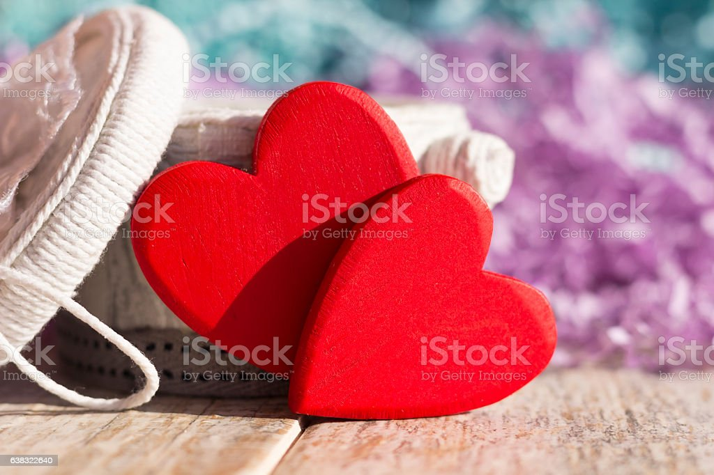 Red hearts on a white background box of handmade stock photo