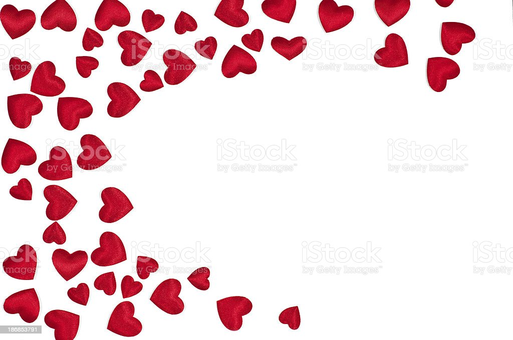 red hearts on white background stock photo